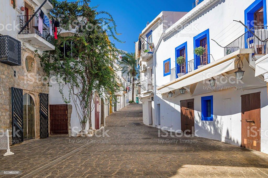 White houses at Ibiza street stock photo