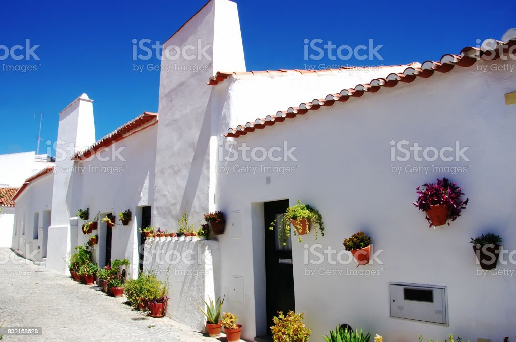 white houses at south of Portugal, Alentejo region stock photo