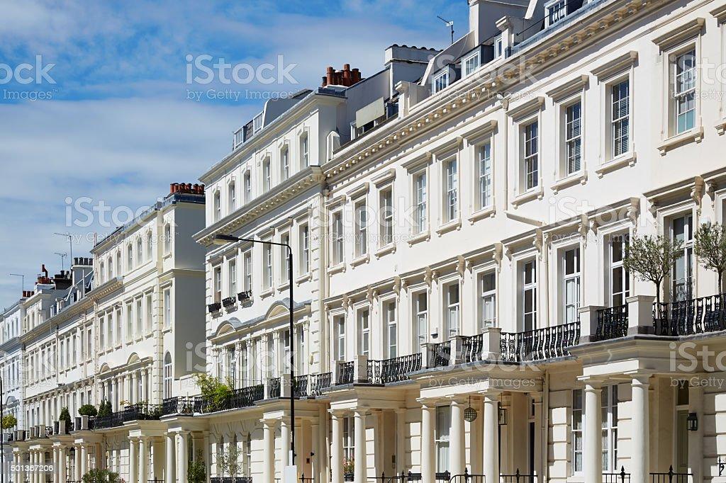 White houses facades in London, english architecture stock photo