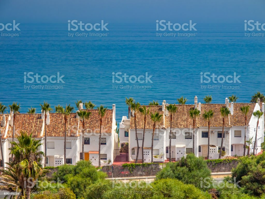 White houses, holiday apartments; at costa del sol, spain stock photo