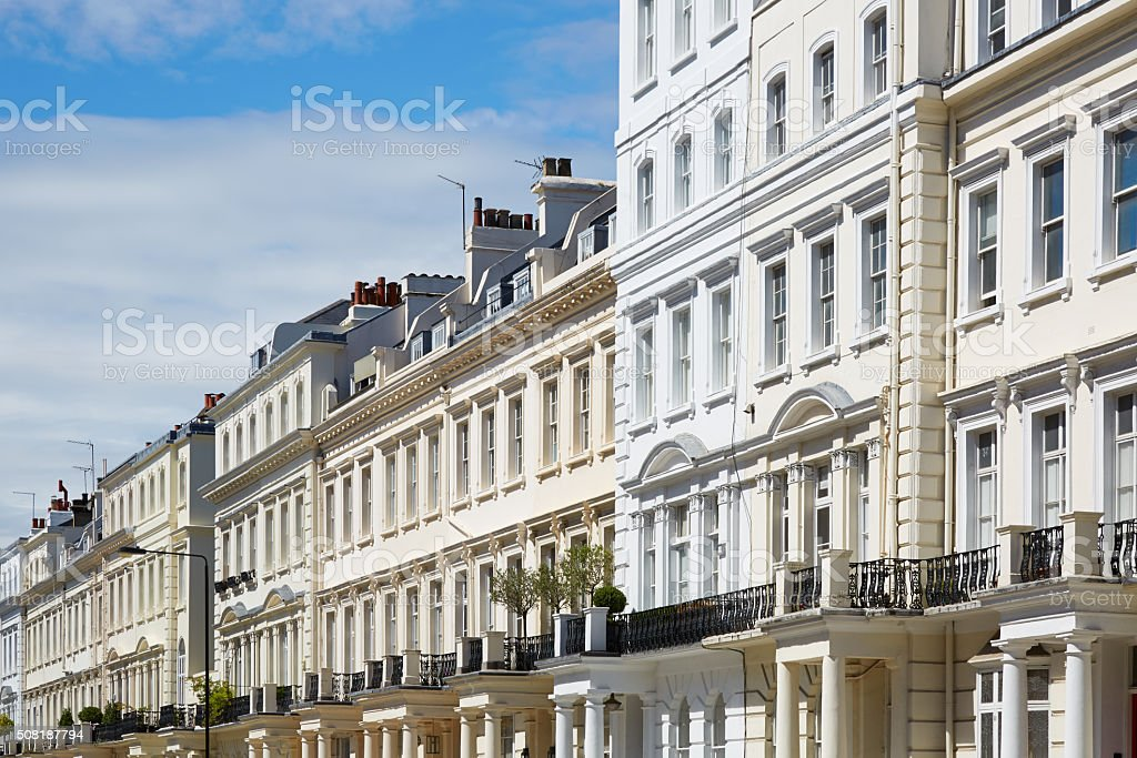 White houses in London, english architecture stock photo