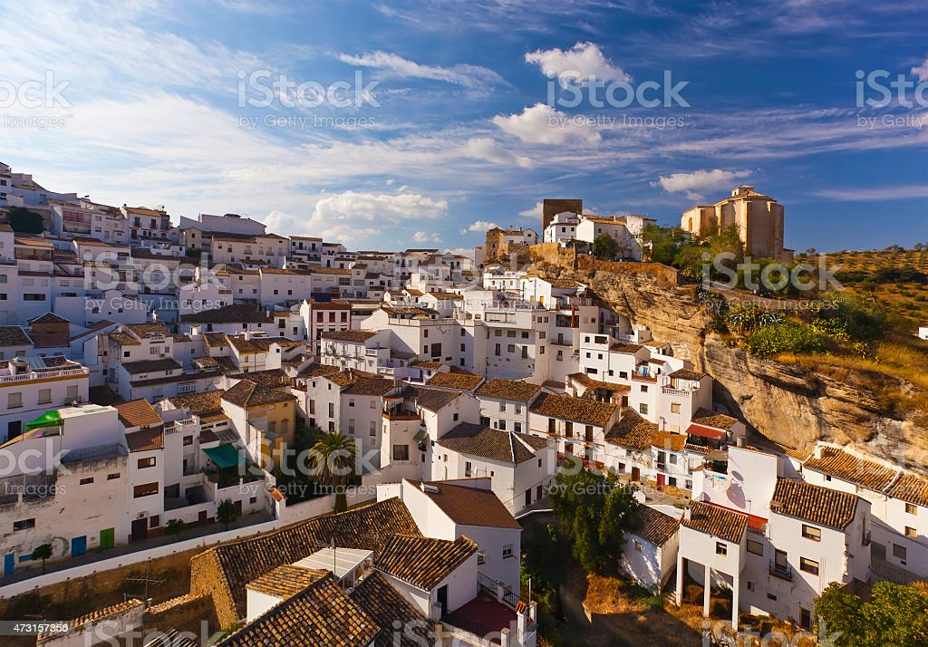White houses in Setenil de las Bodegas small town, Spain stock photo