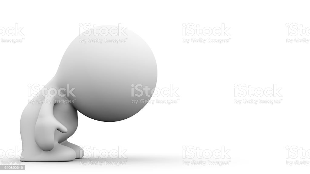 white human character bows to an empty space stock photo
