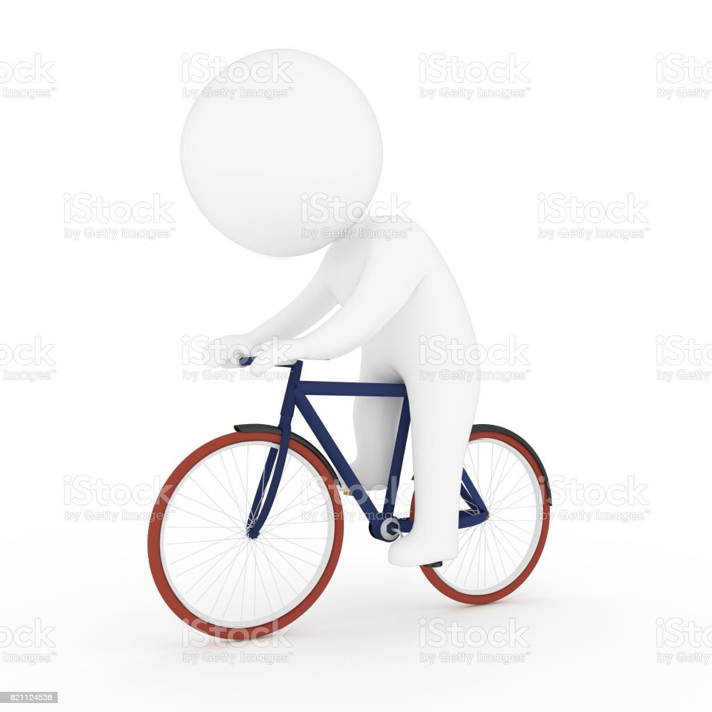 white human running on bicycle in 3D rendering stock photo