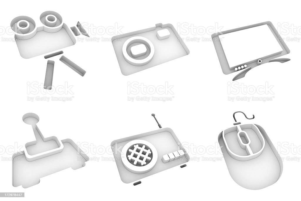white icons - multimedia royalty-free stock photo
