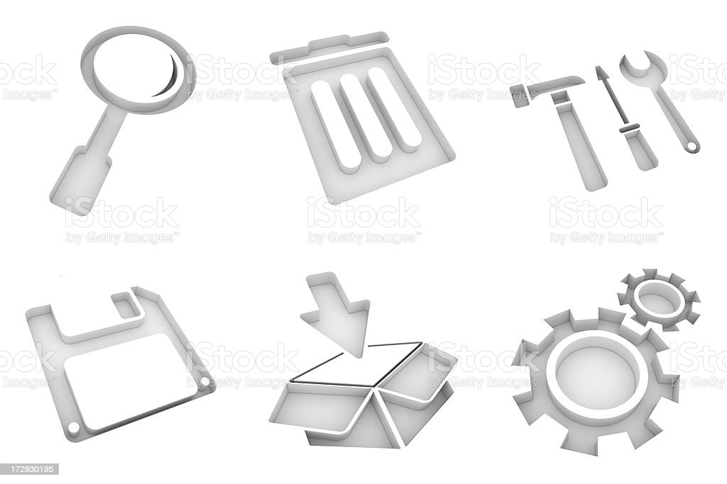 white icons - system royalty-free stock photo