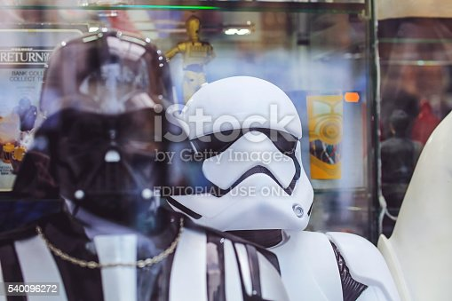 Paris, France - April 28, 2016:  The fictional character Darth Vader and white Imperial Stormtrooper action figure from Star Wars outside a toy store. April 28, 2016 This photo was taken in Paris, France.