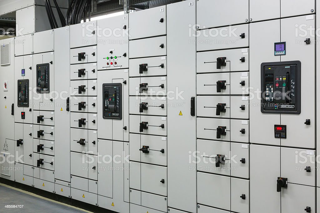 White industrial electrical switch panel stock photo