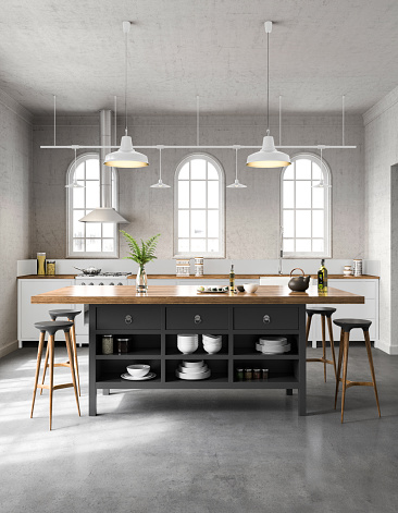 White industrial kitchen interior. Render image.