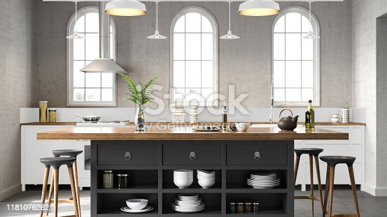 White industrial kitchen. Render image.