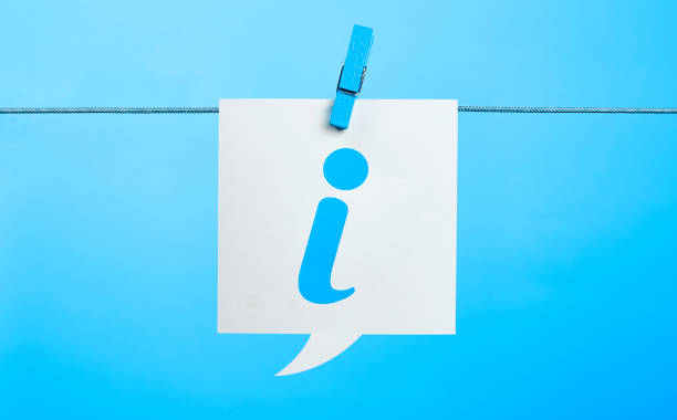 White Info Symbol Chat Bubble Hanging On Blue Background White Info Symbol Chat Bubble Hanging On Blue Background With the Latch information sign stock pictures, royalty-free photos & images