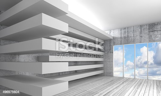 470934084 istock photo White interior background with wooden floor, 3d 496975604