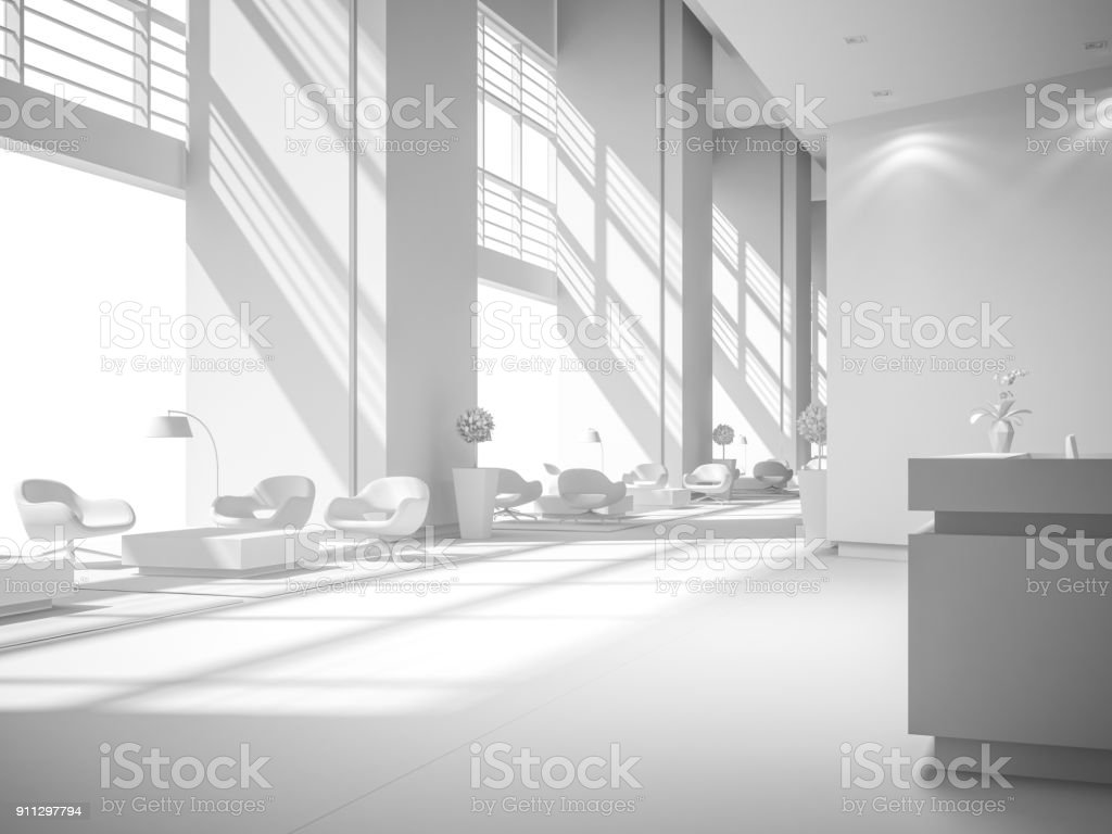 white interior design 3D rendering stock photo