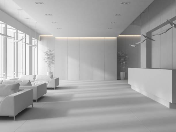 weißen innenraum einer hotel spa rezeption 3d illustration - eingangsbereich teppich stock-fotos und bilder