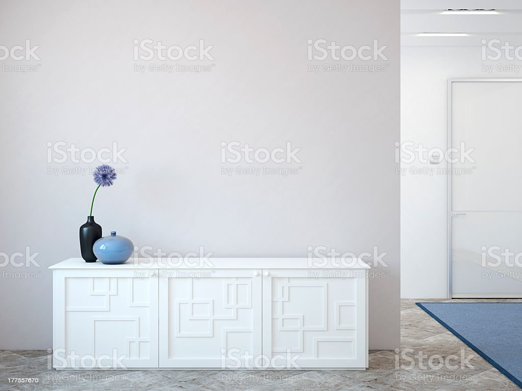 White interior of a house with white furniture stock photo