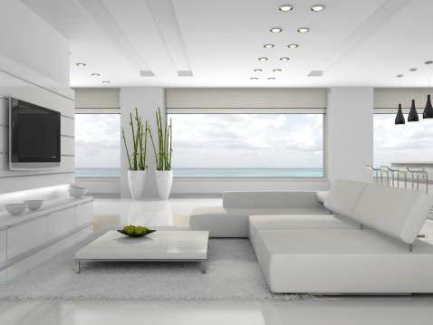 White interior of the stylish apartment