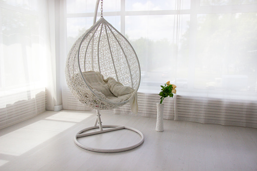White Interior White Hanging Chair Cocoon Chair Stock Photo Download Image Now Istock
