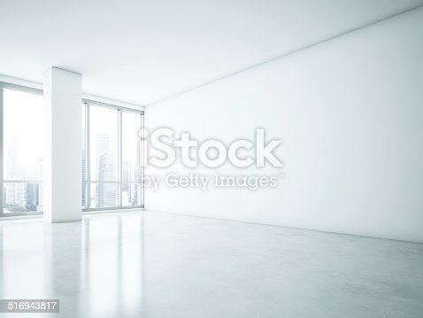 istock White interior with big blank wall 516943817