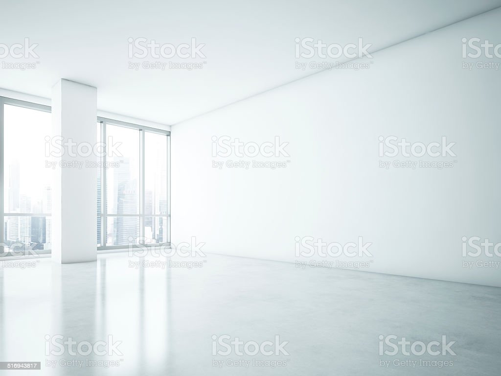 White interior with big blank wall stock photo