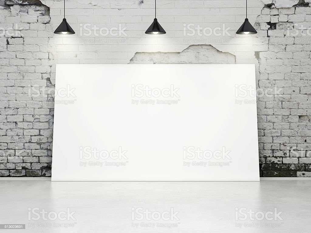 White interior with blank poster stock photo