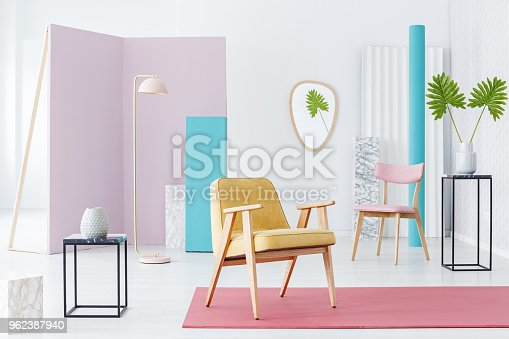 istock White interior with colorful furniture 962387940