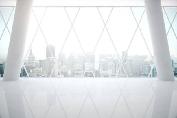 White interior with glossy floor stock photo