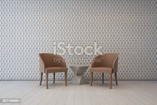 istock White interior with wall decoration pattern and armchairs, living room 607466664
