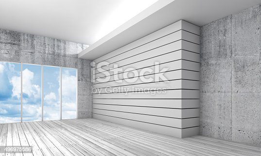 470934084 istock photo White interior with wooden floor and sky, 3d 496975586