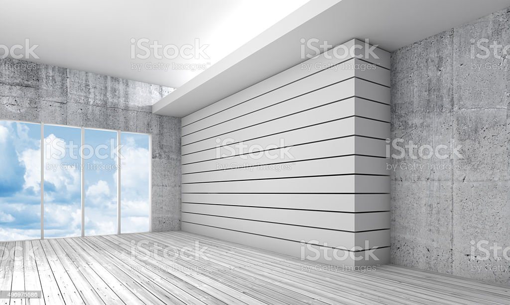 White interior with wooden floor and sky, 3d stock photo