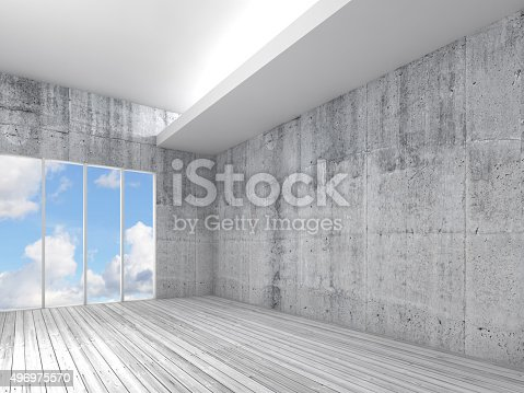 470934084 istock photo White interior with wooden floor, concrete walls 3d 496975570