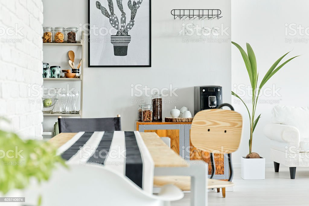 White interior with wooden table stock photo
