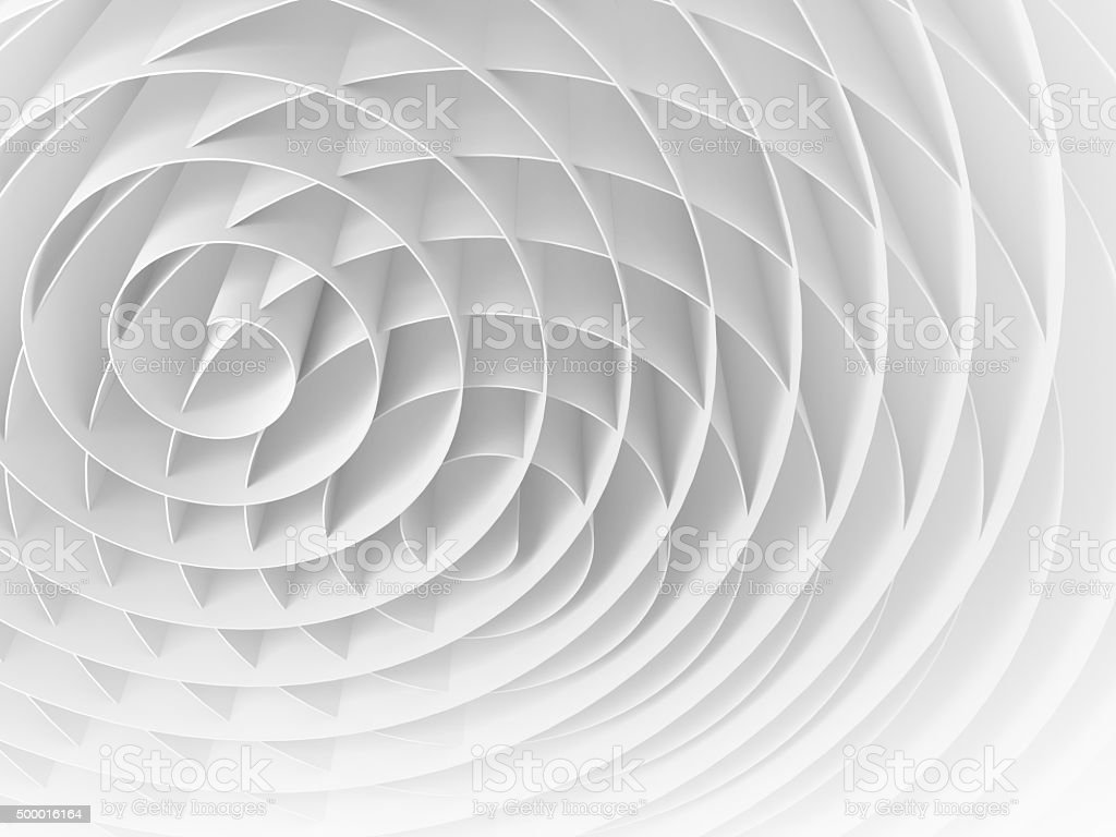 White intersected 3d spirals, abstract digital illustration stock photo