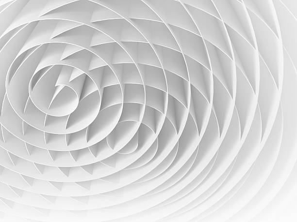 white intersected 3d spirals, abstract digital illustration - kruispunt stockfoto's en -beelden