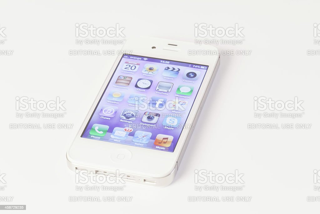 White Iphone 4 with facebook, instagram etc. icons royalty-free stock photo