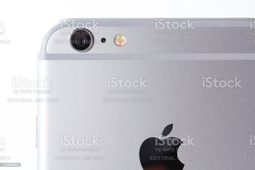 White iPhone 6 plus on white background back part camera stock photo