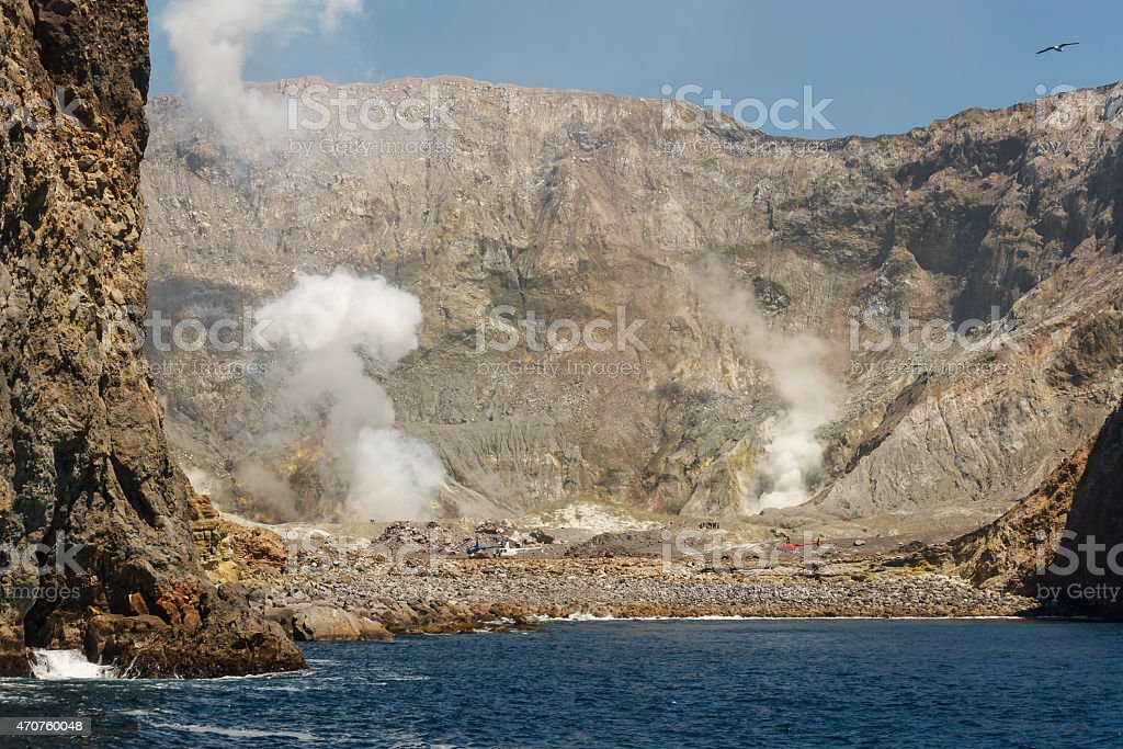 White Island crater in New Zealand stock photo