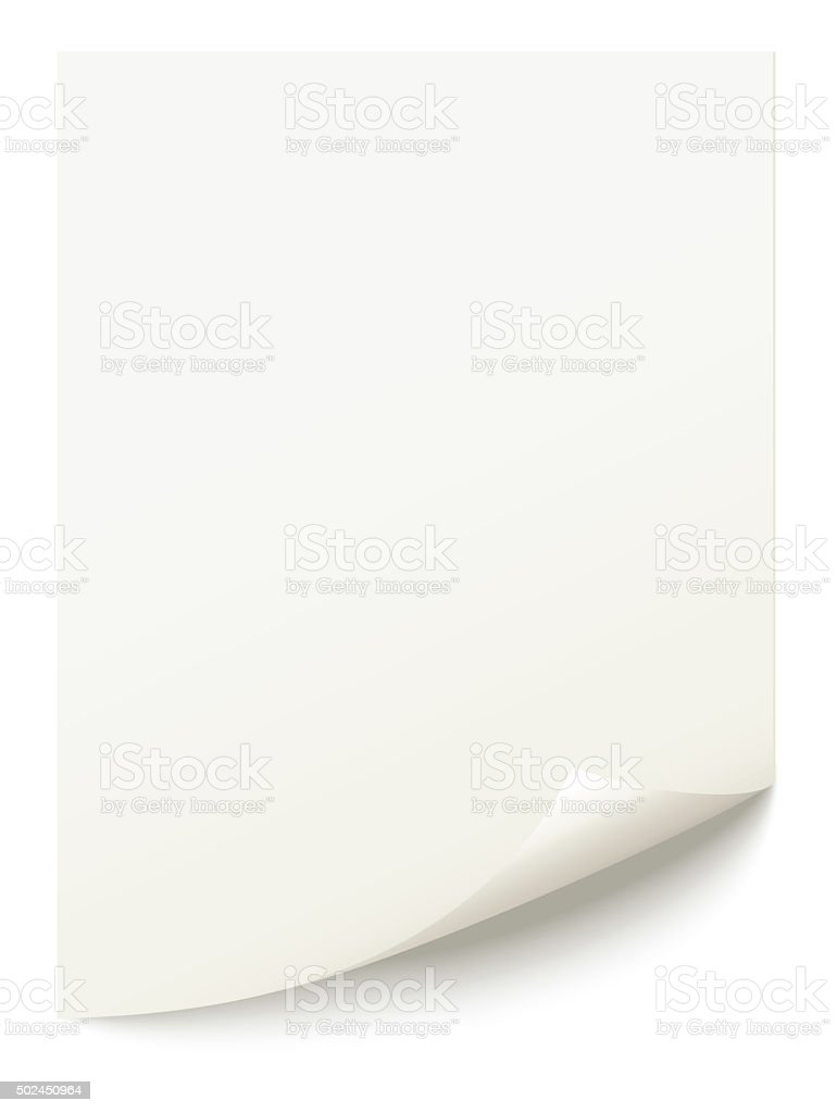 white isolated page corner curl stock photo