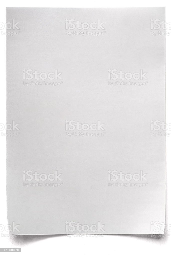 White isolated sheet of blank Paper stock photo