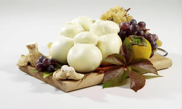 "white italian cheese ""scamorza bianca"" stock photo"