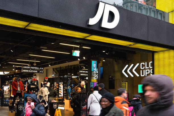White J D letters logo on their Oxford street branch stock photo