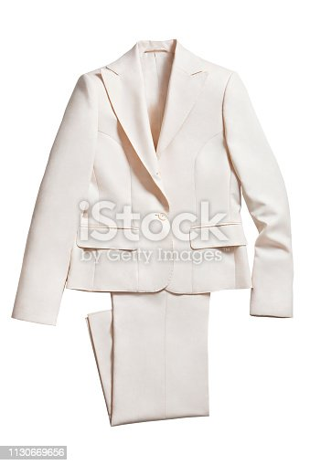 White jacket with pants isolated on white background (with clipping path)