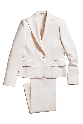 White jacket with pants isolated on white background