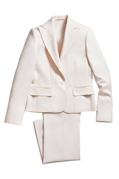 Weiße Jacke mit Hose isoliert auf weißem Hintergrund – Foto