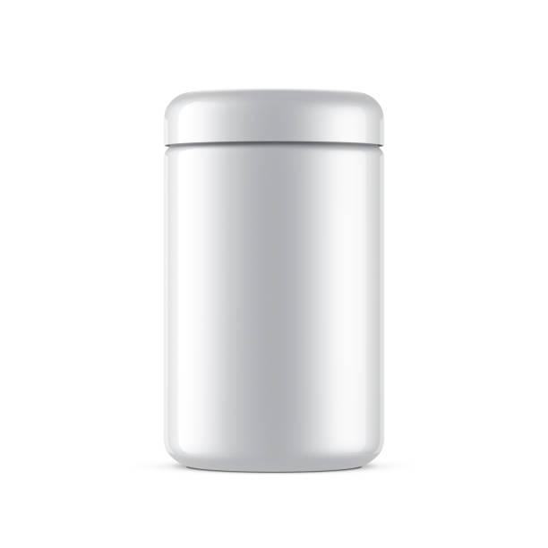 witte jar pakket mockup geïsoleerd op wit - voorraadbus stockfoto's en -beelden