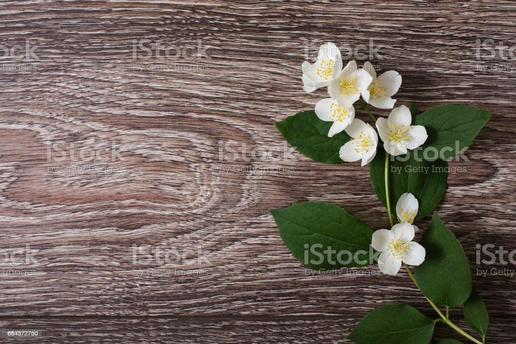 White Jasmine Flowers Lie On A Wooden Background Wedding