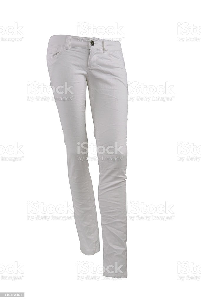 White jeans trousers stock photo