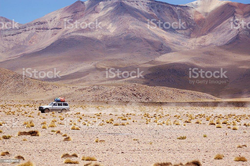 White jeep in Altiplano, Bolivia royalty-free stock photo