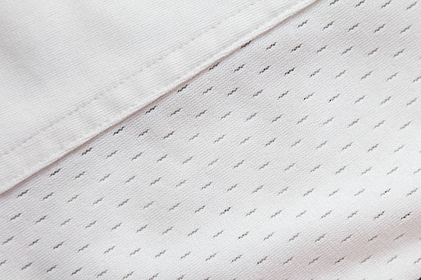 White jersey material with diagonal seam
