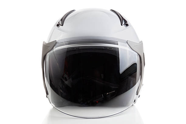 white jet fighter style helmet - helmet visor stock photos and pictures