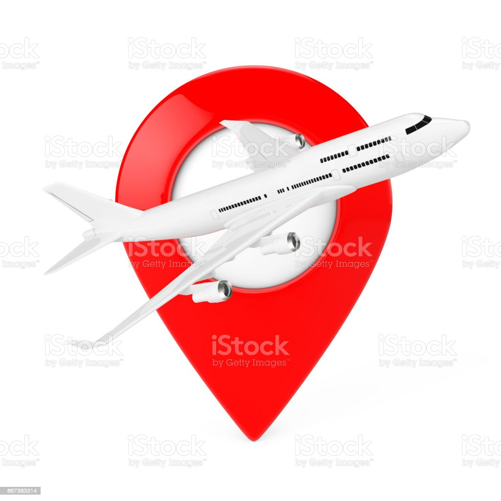 White Jet Passenger's Airplane with Red Map Target Pin. 3d Rendering stock photo